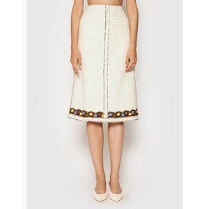 Tory Burch Puzdrová sukňa Tweed 83582 Béžová Regular Fit vyobraziť