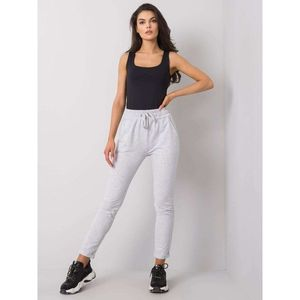 Light gray melange cotton sweatpants vyobraziť
