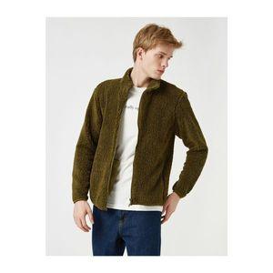 Koton Men's Green Zip Upright Collar Plush Sweatshirt vyobraziť