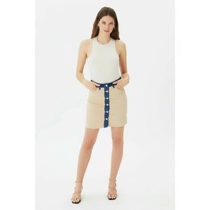 Trendyol Tan Color Block Front Buttoned Denim Skirt vyobraziť