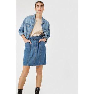 Koton Women's Blue Cotton Belt Mini Denim Skirt vyobraziť