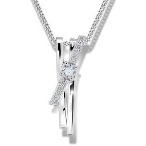 Modesi Prekrásny strieborný náhrdelník M41098 (retiazka, prívesok) vyobraziť