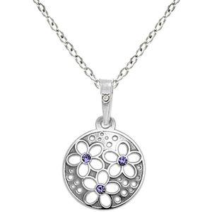 Praqia Strieborný náhrdelník s kryštálmi KO1853_BR030_45_RH (retiazka, prívesok) vyobraziť