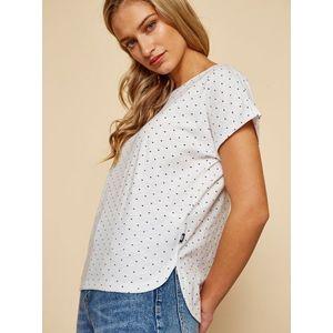 Biele dámske tričko so srdiečkami ZOOT Nosipho vyobraziť