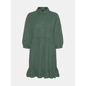 Zelené košeľové šaty s volánom VERO MODA Gaelle vyobraziť