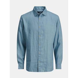 Modrá ľanová košeľa Jack & Jones Plain vyobraziť