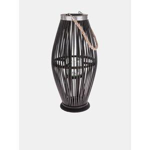 Čierna bambusová lucerna so sklom Dakls vyobraziť