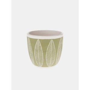 Zelený vzorovaný keramický kvetináč Dakls vyobraziť
