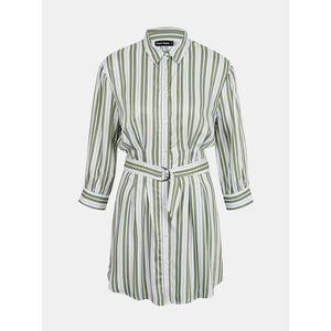 Zeleno-biele pruhované košeľové šaty TALLY WEiJL vyobraziť