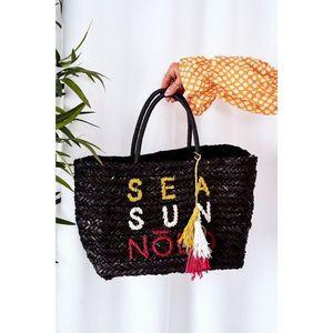 Braided Shopper Beach Bag NOBO XK00410 Black vyobraziť