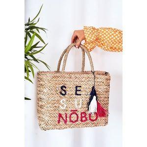 Braided Shopper Beach Bag NOBO XK00410 Beige vyobraziť