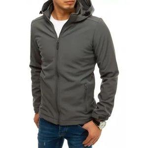 Pánska bunda softshell s kapucňou šedá SPORT vyobraziť
