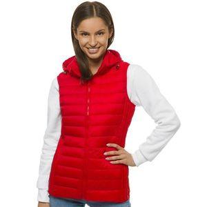 Štýlová dámska prešívaná vesta s kapucňou červená JS/M23039/277 vyobraziť