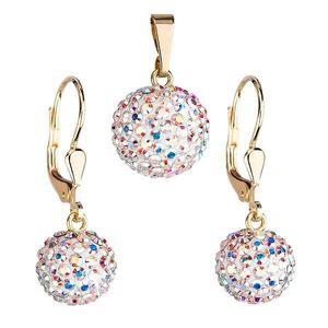 Zlatá 14 karátová sada šperkov s krištáľmi Swarovski náušnice a prívesok AB efekt 939072.2 vyobraziť
