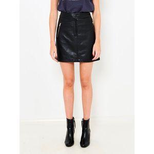 Čierna koženková sukňa CAMAIEU vyobraziť