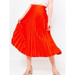 Oranžová plisovaná midi sukňa CAMAIEU vyobraziť