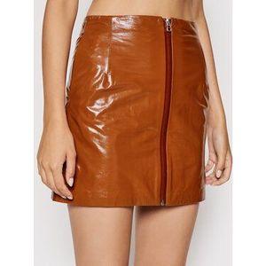 Remain Kožená sukňa Katy RM377 Hnedá Regular Fit vyobraziť