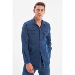 Trendyol Indigo Men's Slim Fit Double Pocket Shirt vyobraziť