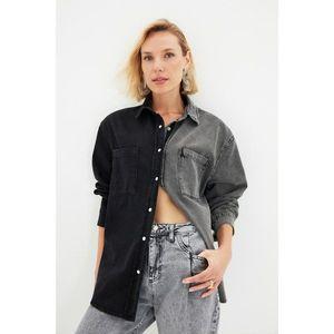 Trendyol Black Color Block Denim Shirt vyobraziť