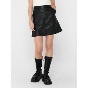 Čierna koženková sukňa ONLY Lisa vyobraziť