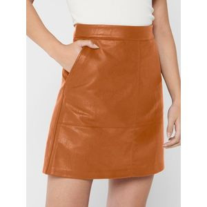 Hnedá koženková sukňa ONLY Lisa vyobraziť