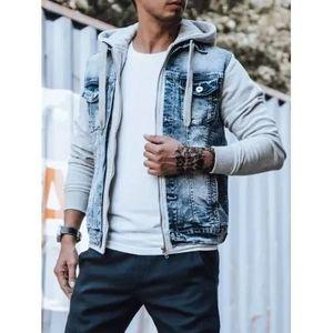 Pánska riflová bunda s kapucňou modrá vyobraziť