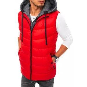 Pánska vesta s kapucňou prešívaná červená FALL vyobraziť