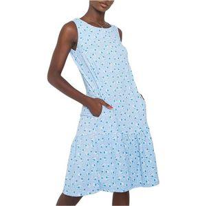 Svetlo modré dámske šaty s potlačou kvetov vyobraziť