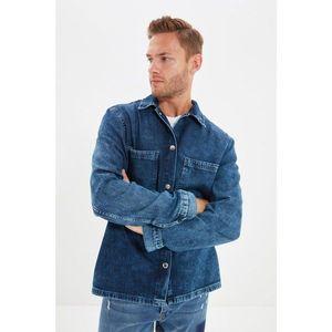 Trendyol Navy Blue Men Regular Fi Double Pocket Denim Shirt Jacket vyobraziť