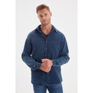 Trendyol Navy Blue Men's Regular Fit Single Pocket Denim Shirt vyobraziť