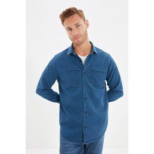 Trendyol Indigo Men's Slim Fit Double Pocket Shirt Collar Shirt vyobraziť