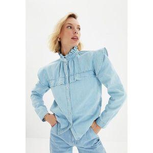 Trendyol Blue Ruffle Detailed Denim Shirt vyobraziť