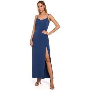 Dlhé šaty Moe M485 Maxi večerné šaty s vysokým rozparkom - modré vyobraziť