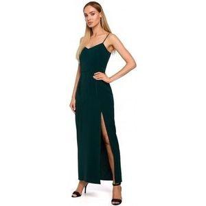 Dlhé šaty Moe M485 Maxi večerné šaty s vysokým rozparkom - zelené vyobraziť