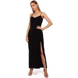 Dlhé šaty Moe M485 Maxi večerné šaty s vysokým rozparkom - čierne vyobraziť