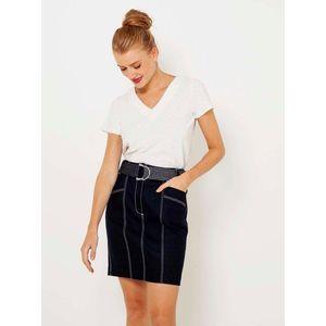 Tmavomodrá rifľová púzdrová sukňa CAMAIEU vyobraziť