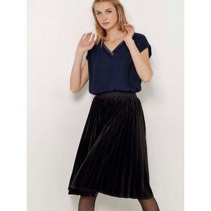 Čierna plisovaná sametová sukňa CAMAIEU vyobraziť