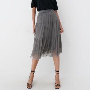 Mohito - Plisovaná sukňa - Svetlošedá vyobraziť