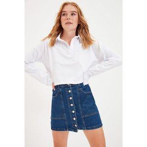 Trendyol Blue Front Buttoned Mini Denim Skirt vyobraziť
