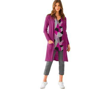 Blancheporte Dlhý sveter kašmírový na dotyk purpurová 54 vyobraziť