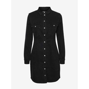 Čierne rifľové košeľové šaty Noisy May Joy vyobraziť