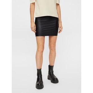 Čierna koženková púzdrová mini sukňa Pieces New Shiny vyobraziť