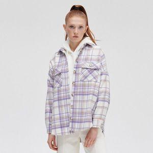 Cropp - Kockovaná flanelová košeľa - Purpurová vyobraziť