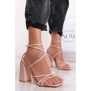 Ružové sandále na hrubom podpätku Lynda vyobraziť
