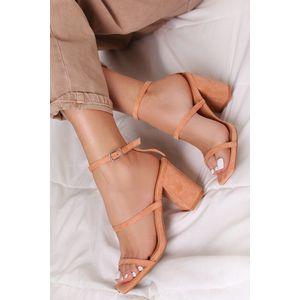 Broskyňové sandále na hrubom podpätku Vally vyobraziť