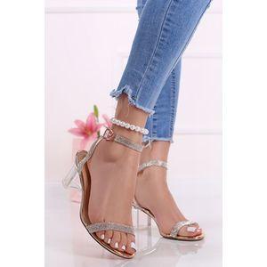 Ružovozlato-transparentné sandále na hrubom podpätku Stewie vyobraziť