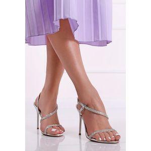 Strieborné sandále na tenkom podpätku Trix vyobraziť