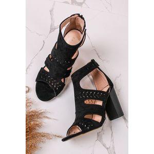 Čierne semišové sandále na hrubom podpätku Lauren vyobraziť