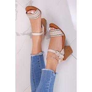 Béžové kožené sandále na hrubom podpätku 67683 vyobraziť