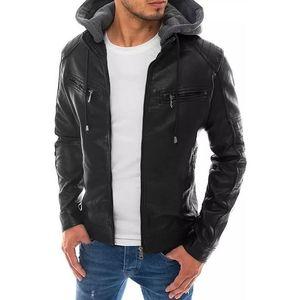 čierna bunda s kapucňou a zipsy vyobraziť